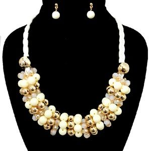 White And Gold Statement Necklace Set