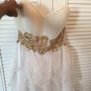 Colors of California Dresses & Skirts - White prom dress; Gold beaded waist