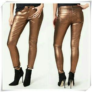 JustFab Denim - 👖 Metallic Signature skinny jeans in copper.