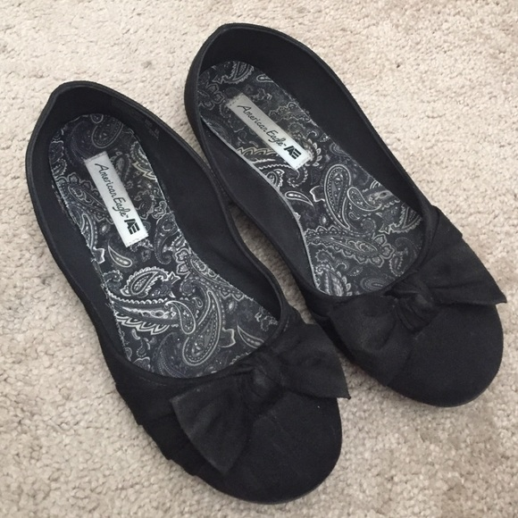 Black Ballet Flats With Bows Ae