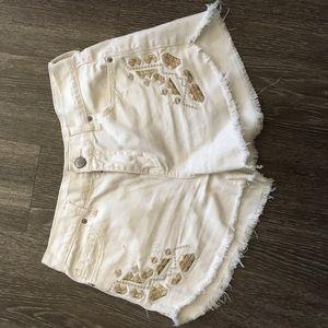 Free People White Denim Short Size 26