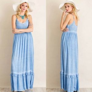 ‼️LAST ONE‼️Acid Washed Scoop Neck Maxi Dress