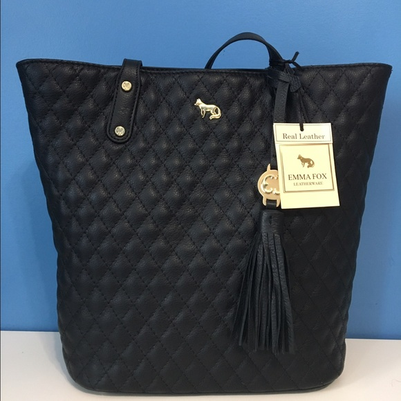56% off Emma Fox Handbags - Emma Fox Quilted Black Leather Tote ...