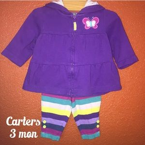 Carters Purple Striped Hoodie Outfit 3 Months