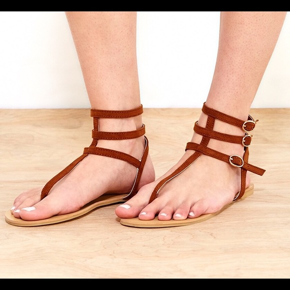 4744e2bb7f49f WET SEAL FAUX SUEDE T-STRAP SANDALS BROWN 10