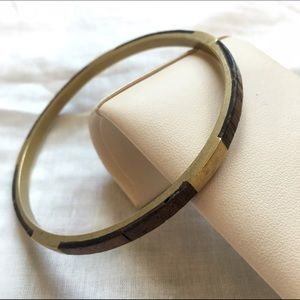 Vintage Brass wooden inlay bangle