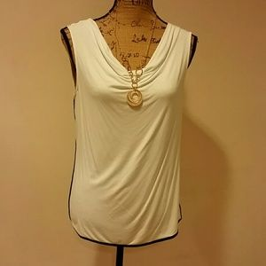 Two toned cream colored cowl necked blouse!!