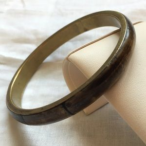 Anthropologie Jewelry - Vintage brass wooden inlay bangle