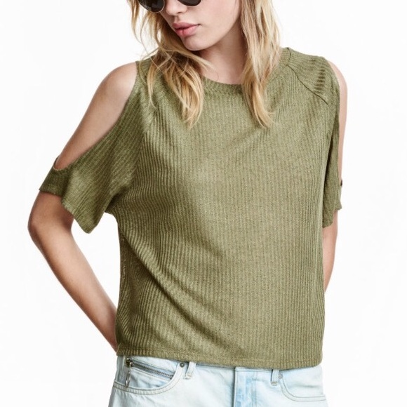 bba9523c75e H&M Tops | Hm Ribbed Cold Shoulder Top Lg Olive Green | Poshmark