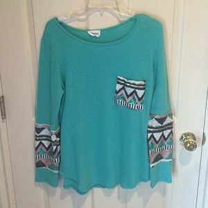 Amazing Lace Tops - Turquoise Sequin Pocket Shirt