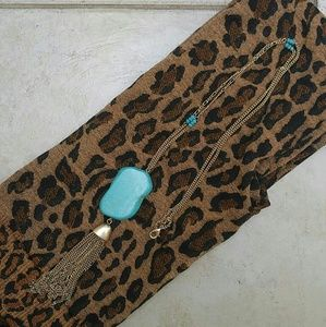 Jewelry - Jewelry | LONG TURQUOISE STONE TASSEL NECKLACE