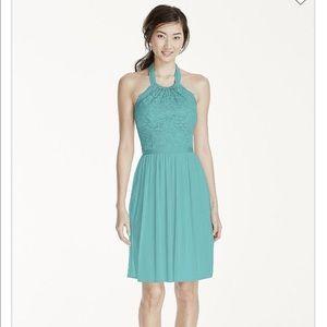 Lace and Chiffon Halter Dress