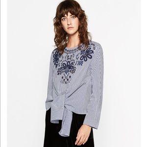 Zara Tops - Striped Poplin Top