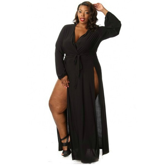 Plus Size Long Sleeve High Double Slit Maxi Dress Boutique