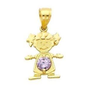 Jewelry - 14k Yellow Gold Baby Boy/Girl Charm W/Birthstone
