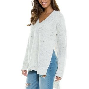 Elan Sweaters - Elan Marled Side Slit High Low Sweater