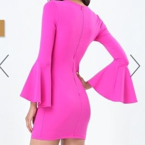 bebe Dresses - Hot pink Bebe bell sleeve bodycon dress 95a23bb30