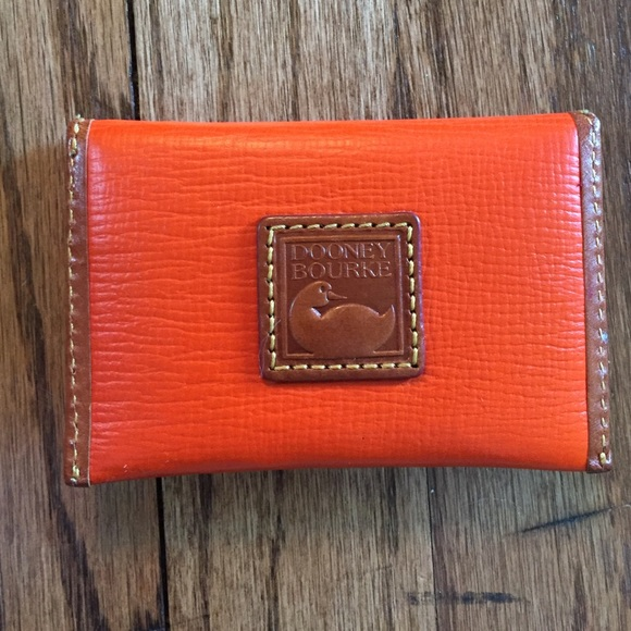 Dooney burke orange leather envelope card holder poshmark dooney burke orange leather envelope card holder reheart