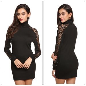 Dresses & Skirts - Last one ‼️High Neck Long Sleeve Lace Slim Dress