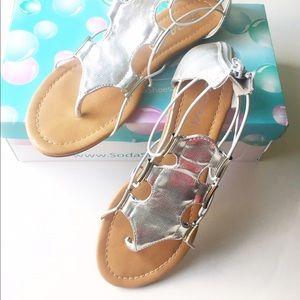 Soda Shoes - 🆕 NWT Metallic Silver Elastic Strap Sandals