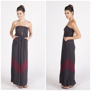 Maxi-mum Elegance Grey and Maroon Dress