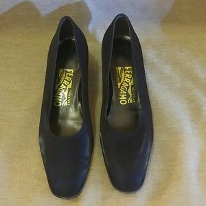 Salvatore Ferragamo black heels.