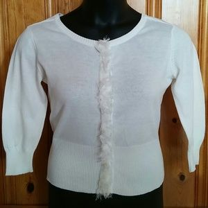 A. Byer Tops - Elegant White Front Closure Sweater (L)