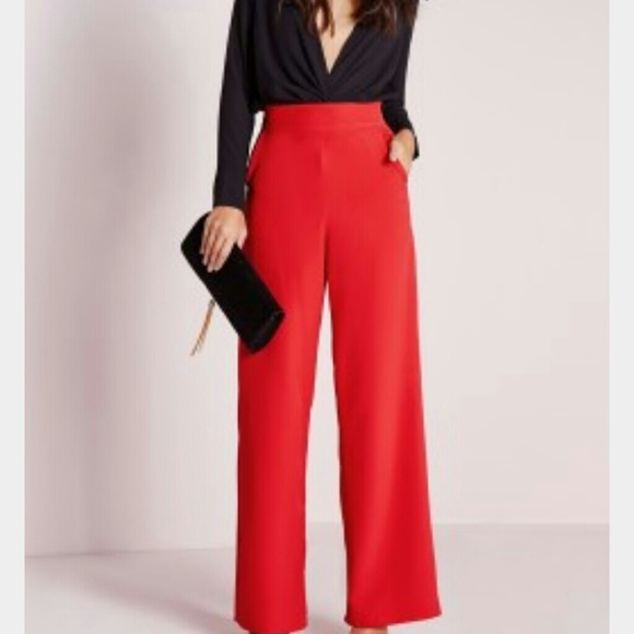 misguided - Red satin wide leg trousers from Malina's closet on ...