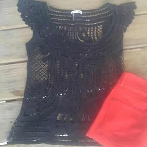 Hoss black lace top