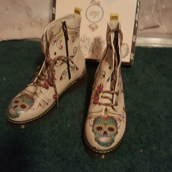 63 Off Goby Shoes Sugar Skull Boots From Michelle Posh