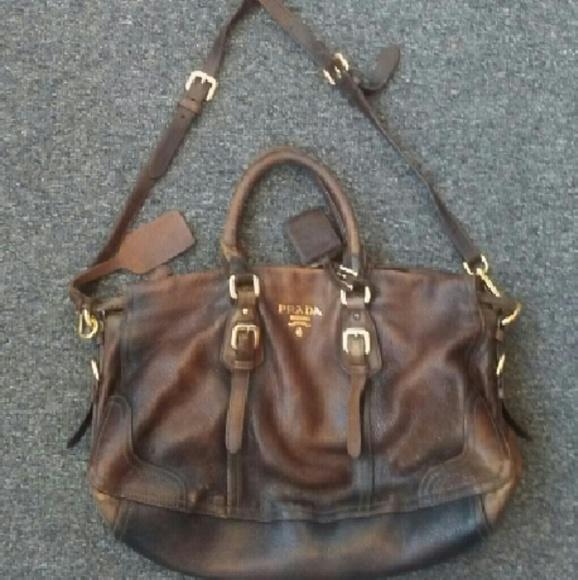 016b81dd56fc Prada Bags | Cervo Antik Brown Distressed Satchel Bag | Poshmark