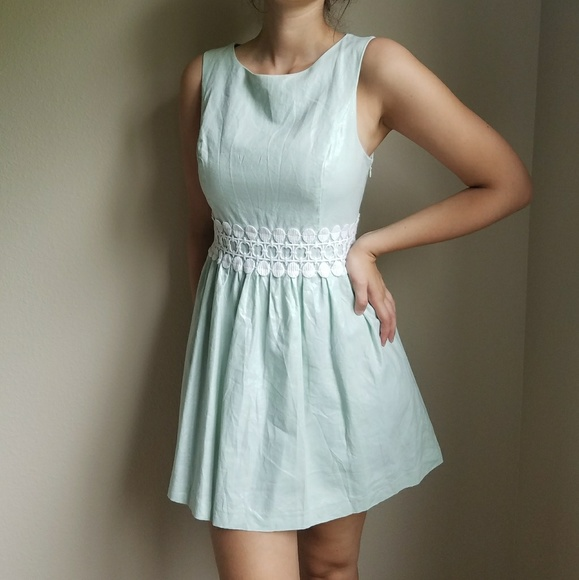 Kensie Dresses & Skirts - Metallic Mint Fit & Flare Dress w/ White Lace