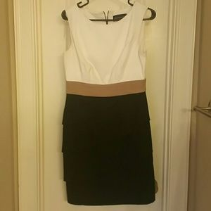 Connected Apparel Dresses & Skirts - White/Black/Tan Color Block Dress