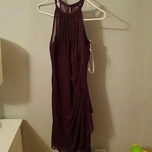 Davids bridal Chiffon  plum short halter dress
