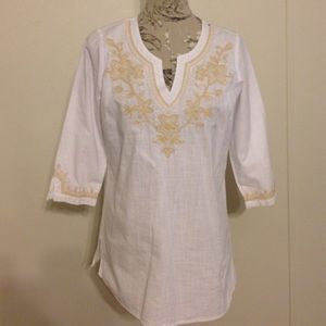 Krazy Kat White/Gold 3/4 Sleeve Top M