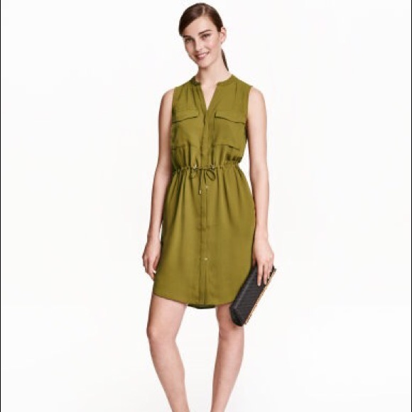 91475743599 H M Olive Green Sleeveless Shirt Dress
