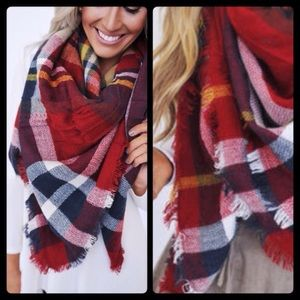 Accessories - ❣LAST❣ Red Mustard or Pink Plaid Scarf for Fall