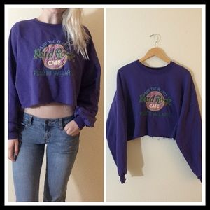 LF Tops - 90's Vintage 🌸Hard Rock Cafe Cropped Pullover🌸