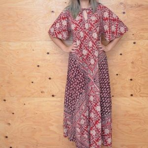 Unique On Trend Red India Maxi Floral Dress