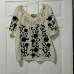 Juicy Couture Tops - Juicy Couture Silk Beige Black Embroidered Top