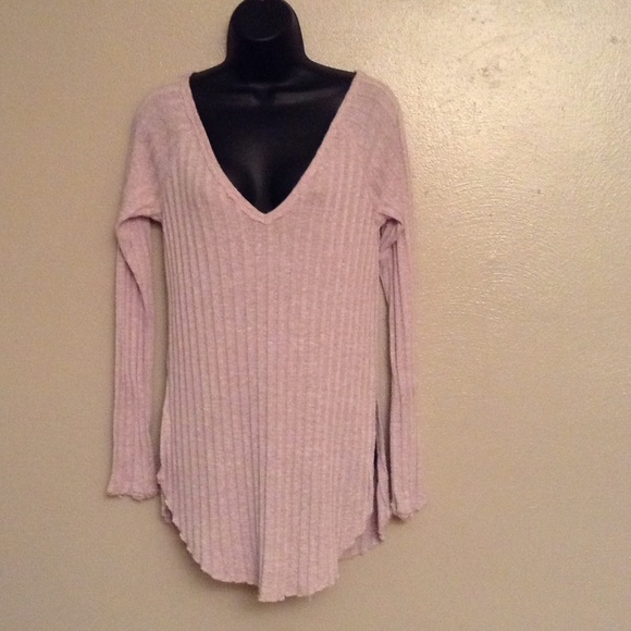 Free People - Free People light pink v neck sweater/shirt from ...
