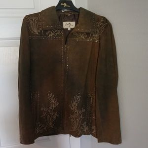 Scully Jackets & Blazers - Scully brown leather jacket with detail