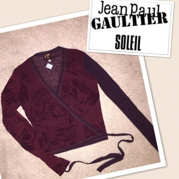 Jean Paul Gaultier Navy Mesh Wrap Top SOLEIL
