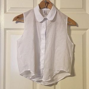 Cropped Button Down w/ Peter Pan Collar