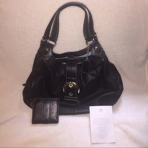 Coach large leather shoulder bag and wallet