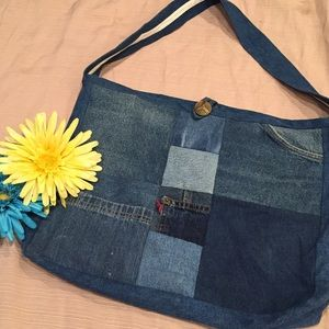 Handbags - Repurposed Denim Shoulder Bag