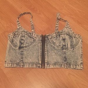 Acid Washed Cropped Zip top S/XS