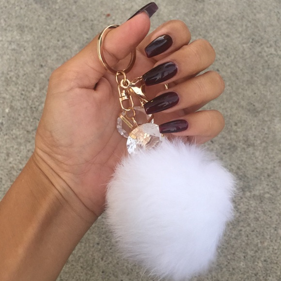 Tanya Kara Accessories - White Fur Ball Key Chain