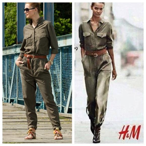 7b506e378224 H M olive green jumpsuit