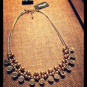 Natasha gold statement necklace w/crystal pendants